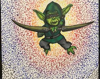 Green Arrow and Yoda inspired mashup Star Wars DC comic mashup illustration