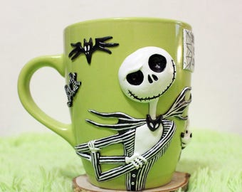 ack,skull,cup,mug,mug with decor,handmade mug,love,tea,coffe,gift,tim burton,surprice,polymer clay,for him,for her