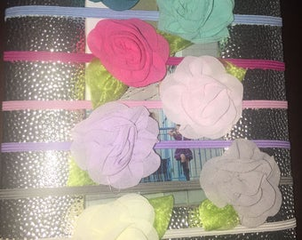 Thin flower headband, Baby flower headband, chiffon headband, baby headband, pink flower headband, white flower headband, thin flower