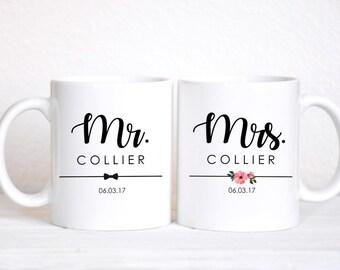 Mr Mrs MUG SET / Bride Groom Gifts / Wedding / Wedding Gift Set / Wedding Set for Mr and Mrs / Wedding Gift / Bride To Be / Couple Gift