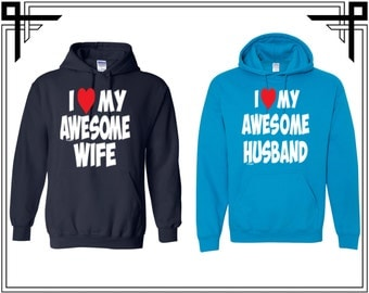 I Love My Awesome Husband / Wife Couple Hoodie Couple Hoodies Hooded Sweatshirt Party Top Valentines Day & Anniversary Gift For Couples