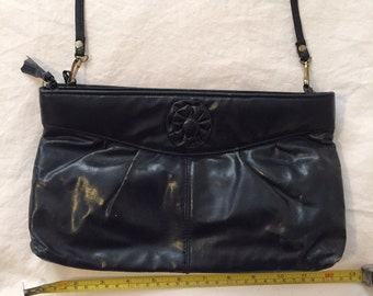Vintage Navy Handbag with Removable Strap and Two Pockets