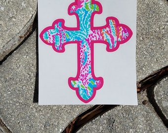 Lilly Inspired Cross Vinyl Decal