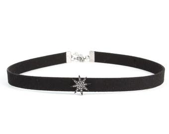 Choker,Black diamond Choker Necklace,Dainty Choker Necklace,Gold Necklace Dainty, Dainty 18K Plated Choker Necklace | Black Choker