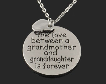 Silver chain necklace, 925 silver plated pendant necklace, Grandmother granddaughter love message necklace, Heart pendant necklace, Cute A83
