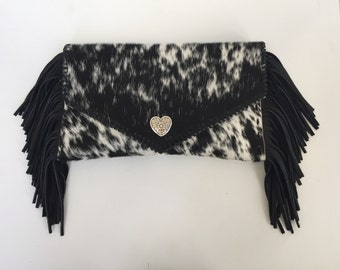 Hair on Hide fringed Clutch