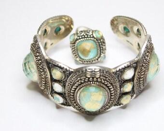 Filigree Design Blue/Gold Quartz Cuff Bracelet and Ring Set 925 Sterling Silver