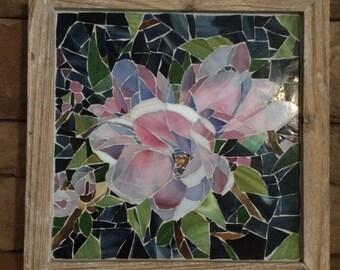 Mosaic glass flower