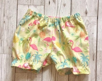 Baby bloomers, flamingos girls bloomers, ruffle bloomers, traditional bloomers, baby girl bloomers, ruffle bum bloomers, girls shorts, baby