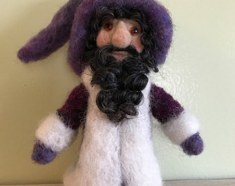 Needle Felted Gnome in garnet and purple