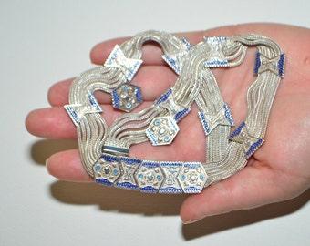 Vintage Anatoli Ethnic 7 Strand Sterling Silver Enamel Guilloche Cloisonne  Matching Choker Necklace Stud Earrings