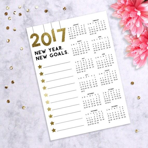 Calendar Year Goals Record : Calendar gold glitter goal planner new year