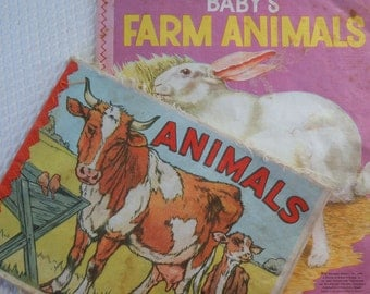 2 Vintage Cloth-Childrens Books-Linen Pages-Colorful Animals-Kittens-Pigs-Dogs-Farm-MORE