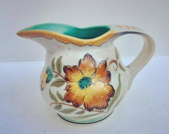 Pitcher Gouda Holland, Armand,  Floral Pitcher Signed, Dutch pottery, mid century, mid century pottery
