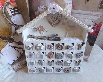 Perpetual nature shabby and vintage wooden advent calendar