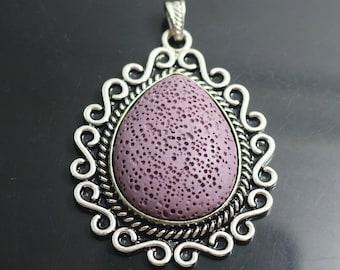 3 pcs Lava Pendant  beads,Purple Pendant Beads, Pendant ,45x65 mm