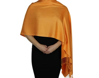 Orange Ladies Pashmina Scarf Wrap Shawl Stole - Tassel Finishing - Handmade