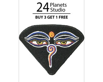 Buddha Eyes Iron on Patch by 24PlanetsStudio