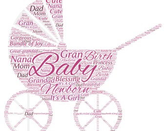 "BABY GIRL CARRIAGE! Beautiful Silver Necklace with Pink Baby Girl Carriage on 22"" Sterling Silver Plated Necklace with Charm Gift!"