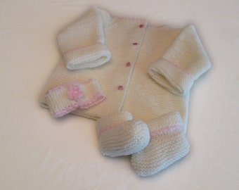 Cream Sweater Set with Pink Trim