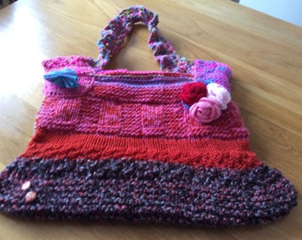 Jamboree .  Colourful  Hand Knitted  Bag .