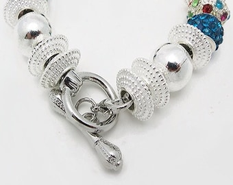 BRACELET - Crystals with silver plated beads +FREE SHIPPING & Discounts*