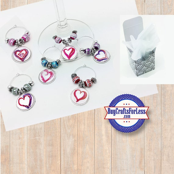 HEART WINE or Bottle Charms, or Napkin Rings, Set of 6, Gift Box  **FREE U.S. SHiPPiNG**