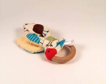 Teether bunny ears - birds