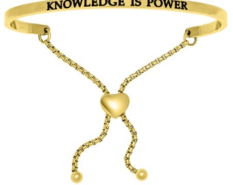 Gold Plated Stainless Steel Knowledge Is Power Adjustable (.005ct) Diamond Bracelet