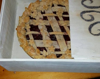 """Handmade wooden pie box with sliding top. 10.5"""" x 12"""" x 5.5"""" deep. Can be customized!"""
