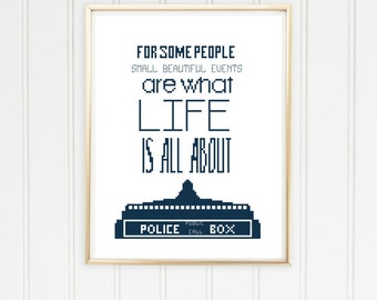 Dr Who cross stitch pattern/doctor who craft/police box dr who/doctor who quote/dr who quote pattern/stitch doctor who/ #12-002