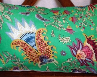 Spring 14 series: Cover 30x50cm (12 x 20 inches) cushion, cotton green floral, linen.