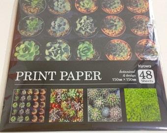 Japanese Origami , Japan Print paper botanical 4design, 48sheets, 15 x 15 cm,