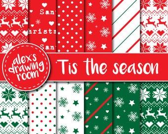 50 % OFF Christmas digital paper, digital paper scrapbook, Christmas scrapbook, wallpaper clipart, digital fair isle wallpaper, snowflake