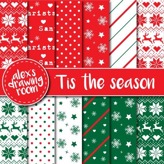 Christmas digital paper, digital paper scrapbook, Christmas ...
