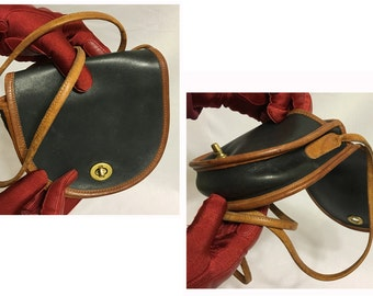Mini Coach Cross Over Bag: Black with Brown Piping/Purse/Vintage Coach