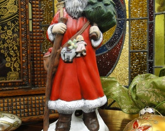 Old World Santa with Tree, Hand Painted Ceramic