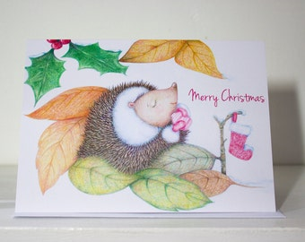 Sleepy Hedgehog Christmas Card