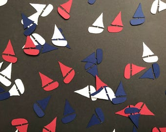 Red, White, and Blue Sailboat Confetti - Red, White, Blue Nautical Decorations - Nautical Baby Shower Decor - Nautical Birthday Party Decor