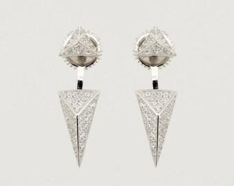 """JR """"Isosceles"""" Sterling Silver Ear Jackets. Sterling Silver Stud Earrings"""