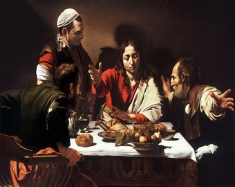 Caravaggio : The Supper at Emmaus (1601) Canvas Gallery Wrapped Wall Art Print