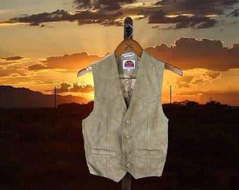 Sleek Suede Tan Cowgirl Vest, Vintage Southwestern Vest, Womens Top, Leather Womens Vest, Santa Fe Style, Miller, Small