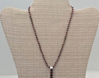 Garnet Necklace, sterling silver with garnet stones, garnet pendant