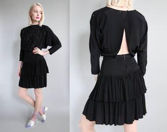 Vtg 80s Black Open Back Cocktail Dress w/ Rhinestones sz XS/S