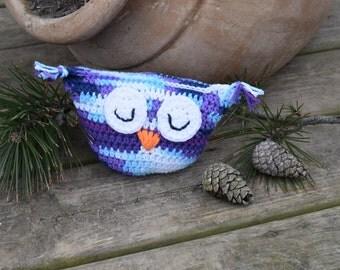 Crocheted Sleepy Owl Pillow, Crochet Owl Pillow, Stuffed Owl Pillow