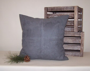Gray Micro-Suede Pillow Cover with Topstitching 18x18