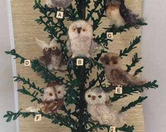 Little Ornamental needle felted Owls