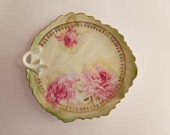 Vintage 1950's Porcelain Gilded Border Leaf Shape Candy Dish