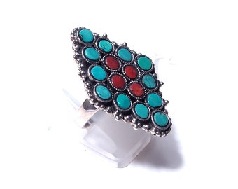 Multipierres coral and turquoise silver ring