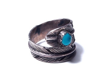 Feather silver and turquoise ring